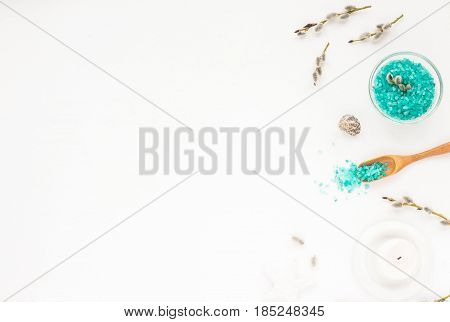 Spa Composition. Candles, Willow , Flowers, Sea Salt, Willow Branches On White Background. Flat Lay,