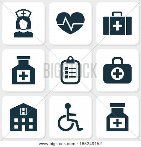 Antibiotic Icons Set. Collection Of Mark, Disabled, Surgical Bag And Other Elements. Also Includes Symbols Such As Pharmacy, Reliever, Health.