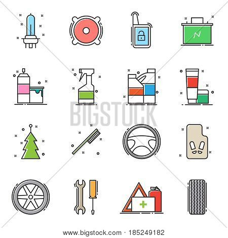 Set of car accessories icons. Flat line design