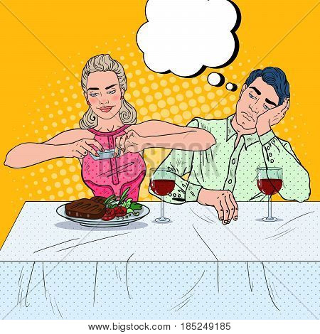 Couple Having Dinner in Restaurant. Woman Taking Photo of Food. Pop Art vector illustration
