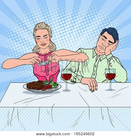 Couple Having Lunch in Restaurant. Woman Taking Photo of Food. Pop Art vector illustration