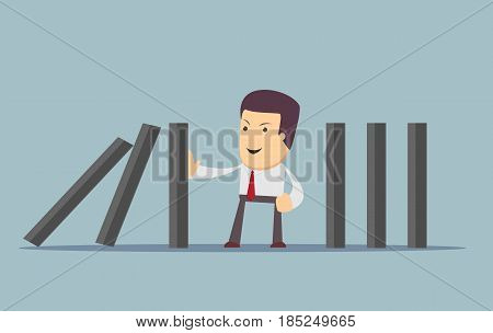 businessman stopping the domino effect with falling dominoes. Stock vector illustration for poster, greeting card, website, ad, business presentation, advertisement design.