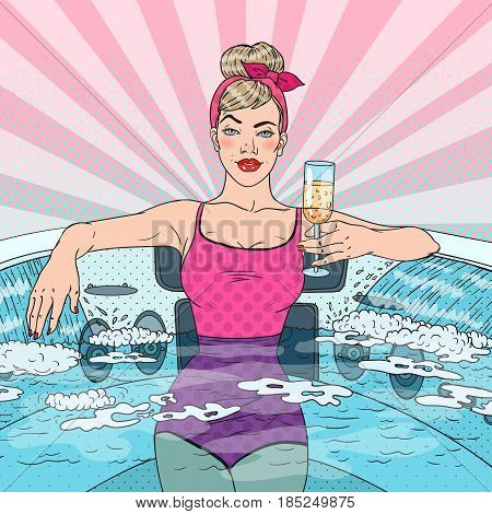 Beautiful Woman Drinking Champagne in Jacuzzi. Pop Art vector illustration