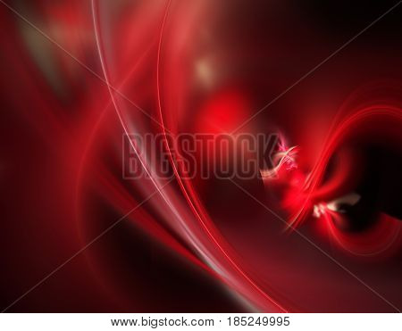 An abstract computer generated modern fractal design on dark background. Abstract fractal element pattern for your design. Physical processes and quantum theory. The birth of a red sphere