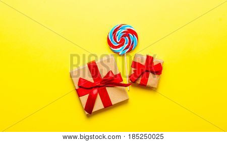 Colorful Lollipop And Gifts