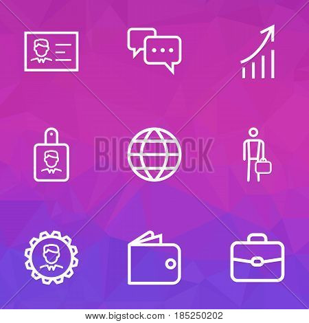 Business Outline Icons Set. Collection Of Manager, Businessman, Id Card And Other Elements. Also Includes Symbols Such As Wallet, Manager, Businessman.