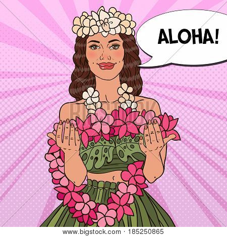 Beautiful Hawaiian Girl with Tropical Flower Necklace. Pop Art vector illustration