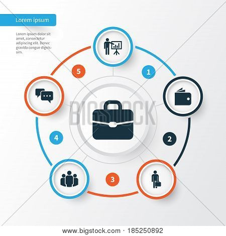 Business Icons Set. Collection Of Work Man, Group, Presenting Man And Other Elements. Also Includes Symbols Such As Suitcase, Work, Presentation.