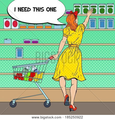 Woman Shopping at the Supermarket with Cart Choosing Product from Shelf. Pop Art vector illustration