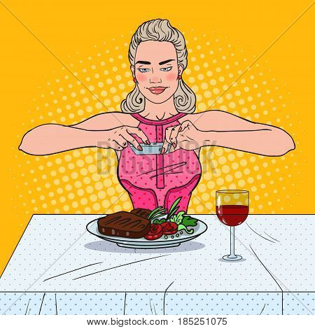 Happy Young Woman Taking Photo of Food in Restaurant. Pop Art vector illustration
