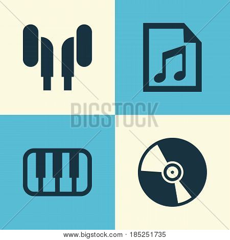 Audio Icons Set. Collection Of Earmuff, Cd, File And Other Elements. Also Includes Symbols Such As Vinyl, Earmuff, Headphone.