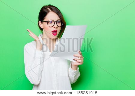 Young Woman With Paper