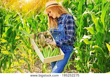 Happy Farmer. Portrait Of Young And Attractive Red Haired Girl In Hat And Coveralls Holding Box With