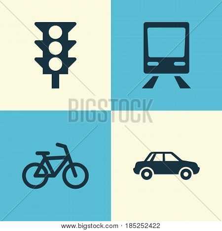 Transportation Icons Set. Collection Of Stoplight, Automobile, Railway And Other Elements. Also Includes Symbols Such As Auto, Automobile, Bike.
