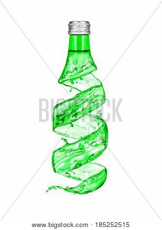 Bottle of mineral water made from water splashes isolated on white background