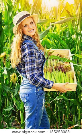 Big Harvest. Portrait Of Young And Attractive Smiling Girl In Hat And Coveralls Holding Box With Cor