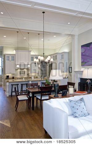 open studio apartment with kitchen, livingroom, and diningroom
