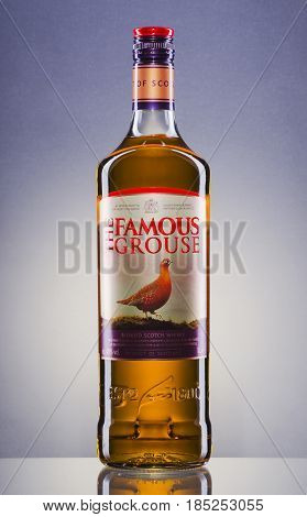 The Famous Grouse blended whisky on gradient background. The Famous Grouse was first produced by Matthew Gloag and Son in 1896. Now produced and owned by The Edrington Group.