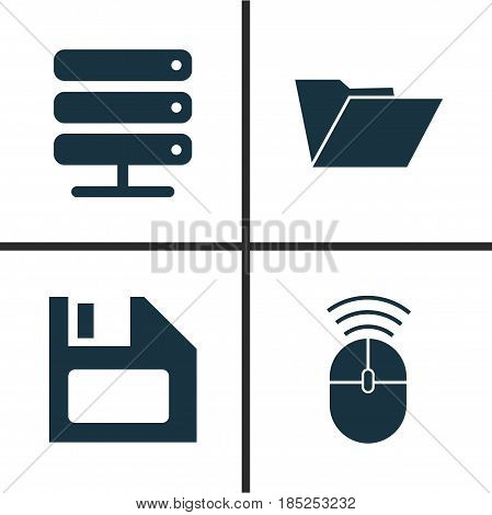 Computer Icons Set. Collection Of Diskette, Database, Dossier And Other Elements. Also Includes Symbols Such As Storage, Folder, Computer.