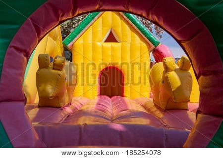 Entrance of an inflatable toy house for children