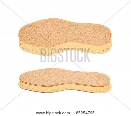 Pair of shoe insoles isolated over the white background, set of two different foreshortenings