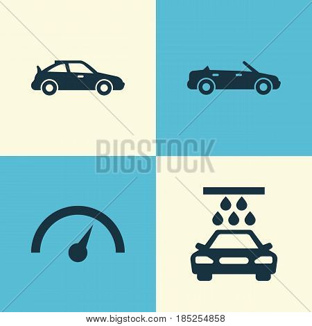 Auto Icons Set. Collection Of Transport Cleaning, Convertible Model, Crossover And Other Elements. Also Includes Symbols Such As Chronometer, Sports, Cabriolet.