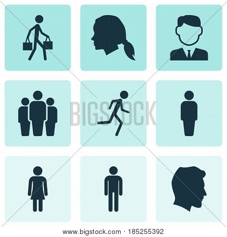 Person Icons Set. Collection Of Female, Male, Delivery Person And Other Elements. Also Includes Symbols Such As Head, Gentleman, User.