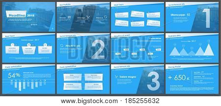 Elements for Presentation templates on a blue background. Use in presentation, flyer and leaflet, corporate report, marketing, advertising, annual report, banner
