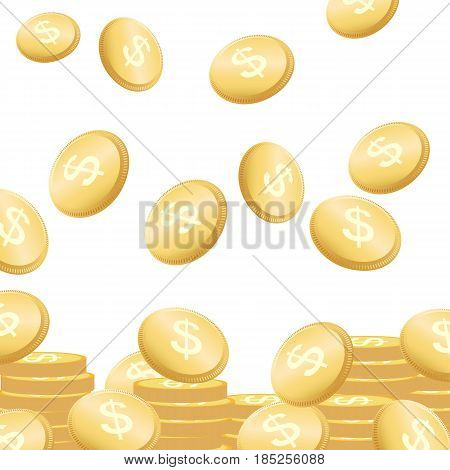 Coins Falling Vector Illustration. Flying Golden Money Concept.