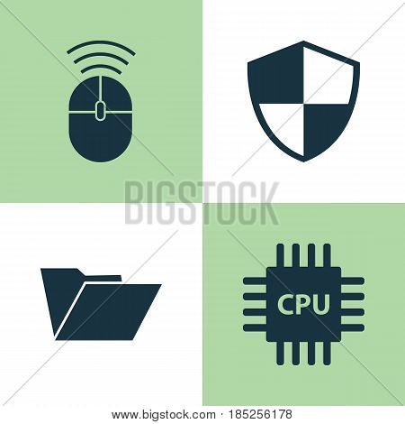 Notebook Icons Set. Collection Of Motherboard, Defense, Computer Mouse And Other Elements. Also Includes Symbols Such As Defense, Mouse, Motherboard.
