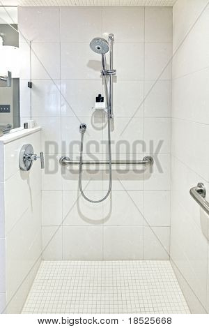 luxury handicapped accessible shower with ceramic tile