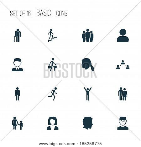 People Icons Set. Collection Of Male, Beloveds, Running And Other Elements. Also Includes Symbols Such As Job, Businessman, Social.