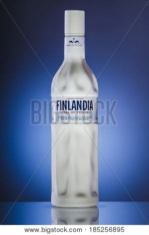 Finlandia vodka on gradient background. Finlandia vodka has been produced from barley and pure glacier water since 1970.