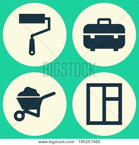 Building Icons Set. Collection Of Glass Frame, Carry Cart, Equipment And Other Elements. Also Includes Symbols Such As Window, Toolbox, Wheelbarrow.
