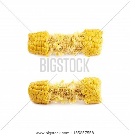 Half eaten corncob isolated over the white background, set of two different foreshortenings