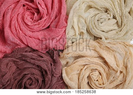 The Colorful gauze fabric background, close up