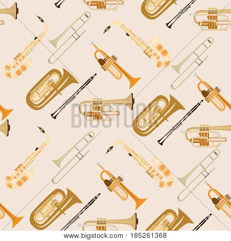 Vector seamless pattern with wind musical instruments. Saxophone, clarinet, trumpet, trombone and tuba, woodwind and brass musical instruments.