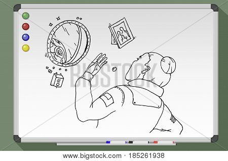 Astronaut Girl Looks Out The Porthole. Vector Illustration