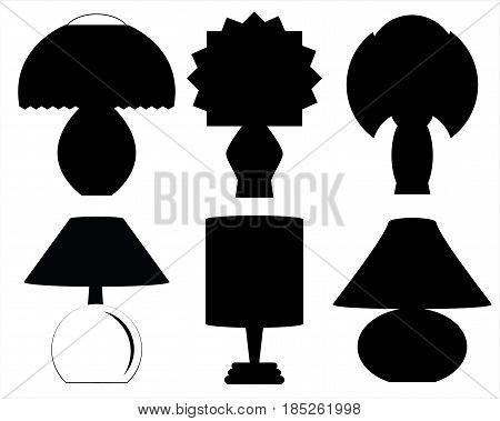 Collection of lamp silhouettes for decoration and collage