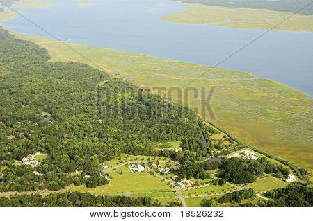 aerial view of neighborhood on coast with forest