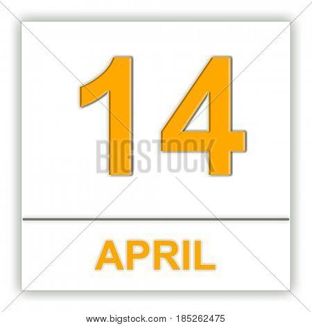 April 14. Day on the calendar. 3D illustration