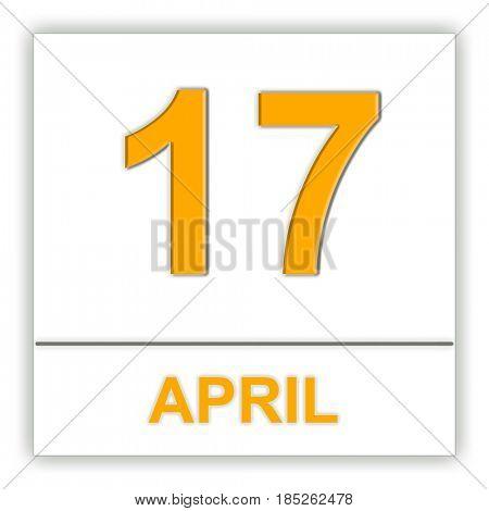 April 17. Day on the calendar. 3D illustration
