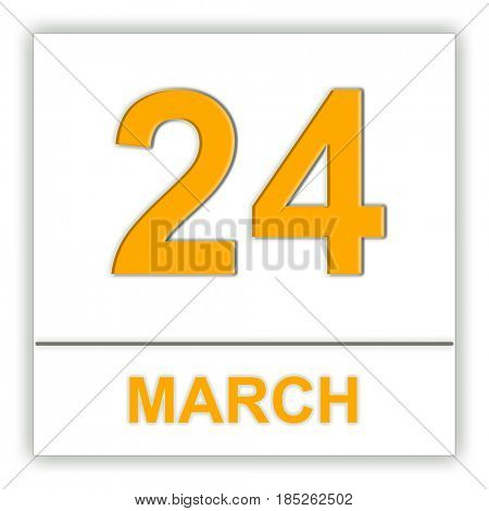March 24. Day on the calendar. 3D illustration