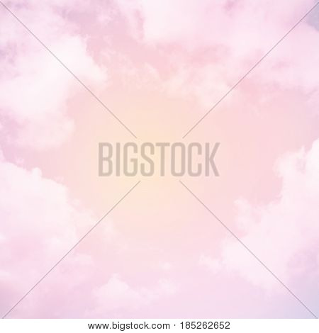Fabulous background Sky with clouds. Beautiful Delicate Pink Sweet dreams Wallpaper. Magical Backdrop with the artistic photo processing. Wonderful Square Image with place for text in center.