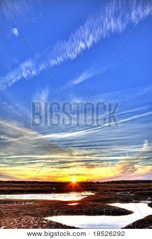 oyster beds at sunset, vertical hdr shot