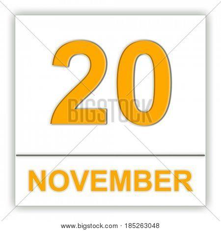 November 20. Day on the calendar. 3D illustration