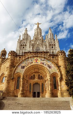Temple of the Sacred Heart of Jesus on Tibidabo mountain Barcelona Spain Europe