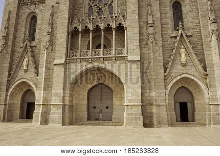 Entrance to the Temple of the Sacred Heart of Jesus on Tibidabo mountain Barcelona Spain Europe