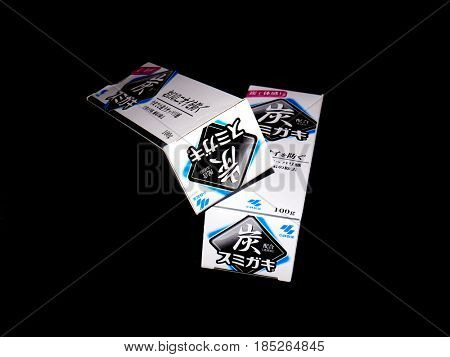 GOMEL, BELARUS - MARCH 5, 2017:Japanese toothpaste Kobayashi with charcoal.Kobayashi Pharmaceutical Co., Ltd. manufactures and sells OTC pharmaceuticals, oral hygiene products.