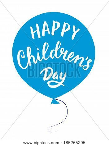 International Childrens day poster with balloon and lettering